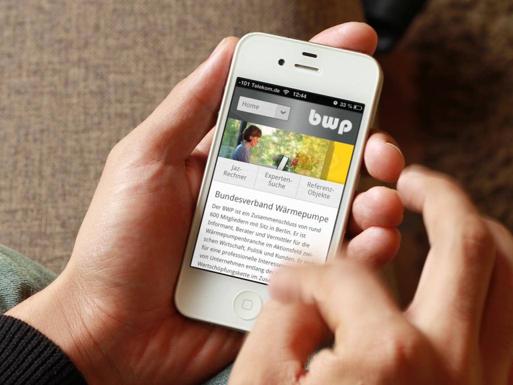 Webdesign mobile Smartphone m.waermempumpen.de