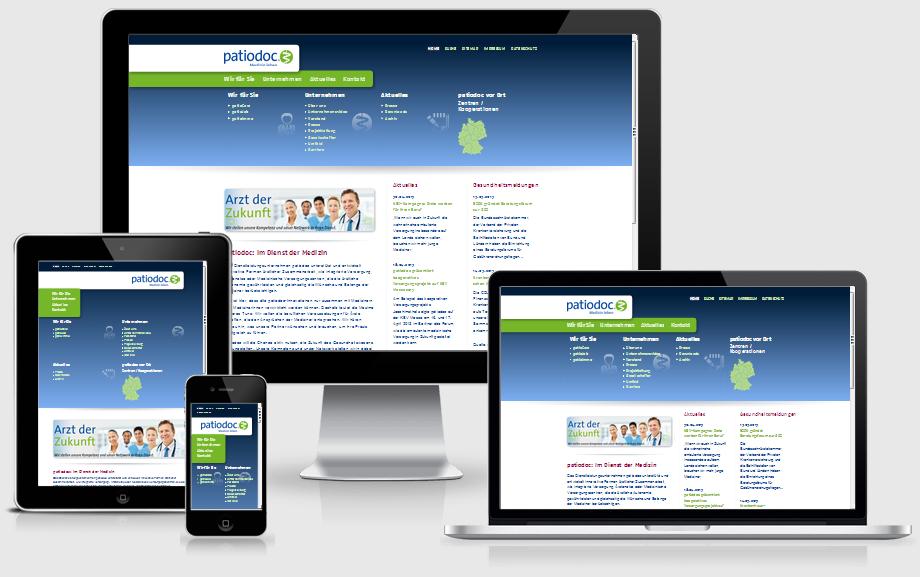 Webentwicklung, responsiven Designs für patiodoc AG, Berlin