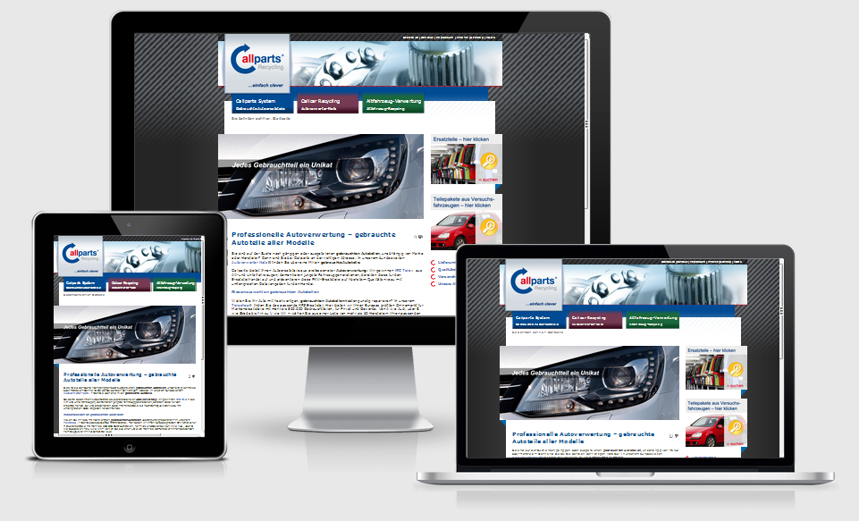 Responsive Unternehmenswebsite Callparts Recycling GmbH