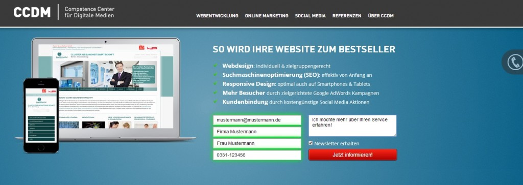 Call To Action der CCDM GmbH